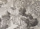 "Angels - trumpeters in the bell tower of the Ryazan Kremlin in the background of the Assumption Cathedral and ornamental sky. A fragment of the sketch for the painting ""Chaine Ryazan Kremlin\"", 2015-2016."