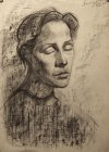 Drawing to a picture «Tatyana Evstegneeva\'s Portrait». Paper, sauce, graphitic pencil. 42x30, 1997.