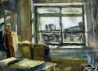 Interior of the Ryazan art school. Oil, cardboard. 17x23, 1993.