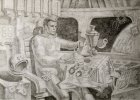 The sketch to a picture «Gagarin\'s Breakfast». A paper, a graphitic pencil, 39.2x54.8, 2011-2012.