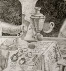 Gagarin\'s hands, slices of sugar and tea in a glass. A sketch fragment to a picture «Gagarin\'s Breakfast».
