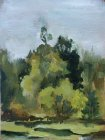 Ponds, Denezhnikovo Ryazan region. The approach of autumn. 25х16 cm, oil on cardboard, 1994.