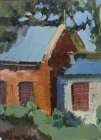 In the backyard of the Ryazan Art College, 1994. 25х18 cm. Oil on paper.