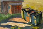Garbage bins. Midsummer. 15х28 cm, paper, oil. 1994.