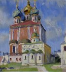Ryazan Kremlin. Assumption and Archangel Cathedral. View from the altar area. 35x35 cm, oil on cardboard. 1996.