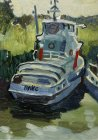 "Tug ""Ples\"" Trubezh River, near the marina in the Ryazan Kremlin. 18х11 cm, paper, oil. 1994."