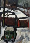Winter view from the window. Garages covered with snow. 17х12 cm, paper, oil. 1994.
