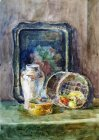 "Still life with a tray ""Gzhel\"" and a basket. 70x55 cm, watercolor on paper. 1992."