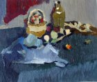 Still Life with olive pitcher. Sketch. 15х18 cm, oil on canvas on board. 1994.