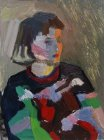 Sketch. The model in colorful sweater in a contrasting light. 25х18 cm, paper, oil. 1994.