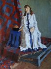 Model in the boyar dress. Staged thematic model. 100х78 cm, oil on canvas. 1996.