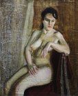 Sitting naked girl. Staged model. 60x50 cm, oil on canvas. 1995.