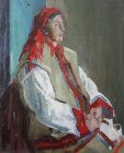 Woman in Russian national costume. Staged thematic model. 80х68 cm, oil on canvas. 1996.