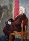 Elderly woman with a black bag. Theme staged model. 70x50 cm, oil on canvas. 1997.