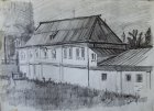 Consistorial house. Ryazan Kremlin. Plein air drawing. 30x42 cm, paper, graphite pencil. 1995.