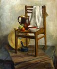 Still life with a chair and a porcelain cup. 60х50sm, canvas, oil. 1992.