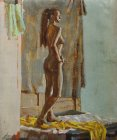 The standing naked girl, view from a back. 60х50sm, canvas, oil. 1995.