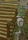"A fragment of the painting ""Morning.\"" Forged stair railing, ornamental stage vase with roses and ivy."