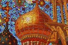 "The golden dome of the Assumption Cathedral. Trumpeting angel. Detail of the painting ""To Chaine of the Ryazan Kremlin\"""