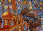 "Evening stars. Trumpeting angels on the bell tower. Crohn\'s tree. The golden dome of the Assumption Cathedral. Detail of the painting ""To Chaine of the Ryazan Kremlin\"""