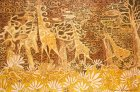 Triptych «Savanna». 2007:  The giraffe\'s family. 2007 35x55 paper/acryl