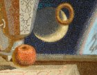 "Detail of the painting ""Breakfast Gagarin.\"" Apples, month, levitating cake."