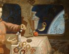"Detail of the painting ""Breakfast Gagarin.\"" Levitating space still life."