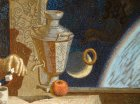 "Picture fragment ""Gagarin\'s Breakfast\"". Samovar, steering-wheel, apple and Gagarin\'s hand"