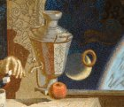 "Detail of the painting ""Breakfast Gagarin.\"" Samovar, bagel, an apple."