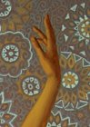 "Picture fragment ""High moments. Modern ballet\"". A female hand on an ornamental background."