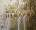 "Detail of the mural "" Elven city.\"" Wall number 2 ."