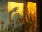 "In the light of the setting sun. Detail of the mural "" Elven city.\"" Wall number 2 ."