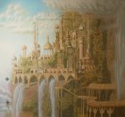 "The work as a whole. Wall painting "" Elven city.\"" Wall number 2 ."