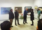 Rewarding with the Diploma of the sculptor – Polina Gorbunova. At the left – to the right: The chairman of the board of the Ryazan office of the Union of artists of Russia, the Honored artist of Russia – Alexey Anisimov,