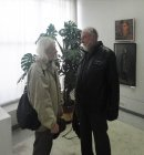 Artists Valentin Chavkin (at the left) and Anatoly Presnyakov. At opening of the Spring 2015 exhibition devoted to the 70 anniversary of the Victory over fascism. Showroom of the Union of artists of Russia, Ryazan. April 23. Russia.