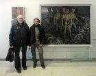 Artists: Anatoly Presnyakov (at the left) and Maksimilyan Presnyakov, against Anatoly Presnyakov\'s picture (on the right) and Alexey Akindinov (at the left – from above). The Spring 2015 exhibition devoted to the 70 anniversary of the Victory over fa