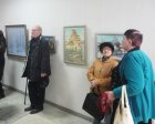 At opening of the Spring 2015 exhibition devoted to the 70 anniversary of the Victory over fascism. Showroom of the Union of artists of Russia, Ryazan. April 23. Russia.