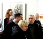 In the background - journalist - Olga Milovzorova and artist - Valenin Chavkin. In the foreground: the artists Vasily I. Koldin, Vladimir Janaki - Board member of Union of Artists, journalist and artist - Elena Koreneva.