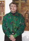 "Alexey Akindinov with the ornament put on the face. An image of the hero of its picture ""Geranium-guy\""."