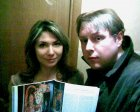 Journalist Zoe Mozalyova and Alexey Akindinov with the published magazine «Russian Mir.Ru». November 2010.