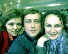 On November, 12th 2010. In Moscow at the All-Russia youth exhibition in Central House of Artist. At restaurant. At left - to right (artists): Alla Malinovskaya, Alexey Akindinov and Natalia Nepovinnyh.
