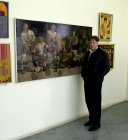 Alexey Akindinov near his picture «Ice knights» at opening of the Regional exhibition «Spring 2011», April 2011.